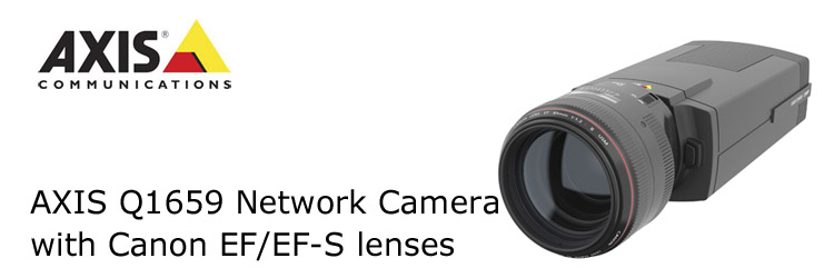 The new AXIS Q1659 is an interchangeable-lens network camera jointly developed with Axis Communications that combines both Canon and Axis's technological strengths. Axis will launch the new camera in markets worldwide in the first quarter of 2017.