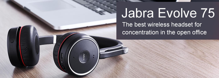 Designed to support concentration in the open office, the Jabra Evolve 75 manages office sounds and interruptions with active noise cancellation and integrated busylight